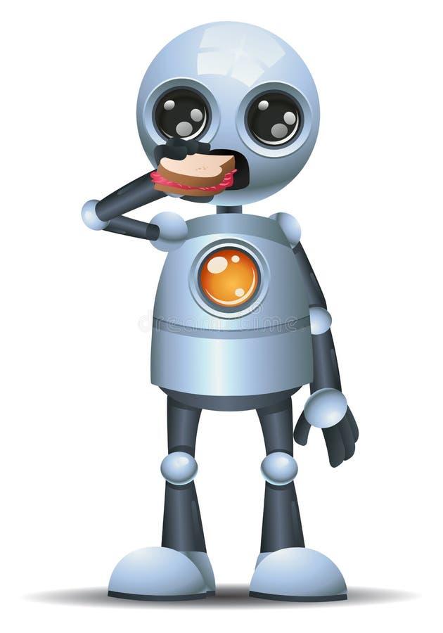 liten robot som ?ter sm?rg?sen stock illustrationer