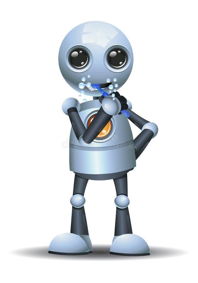 liten robot som borstar t?nder stock illustrationer