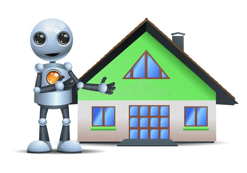 Liten robot som framlägger ett hus royaltyfri illustrationer