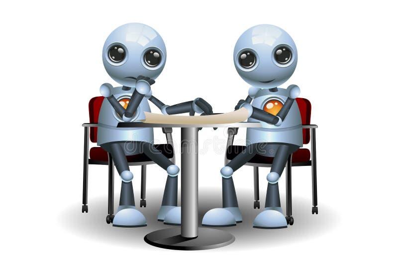 Liten robot som gör mötekonversation royaltyfri illustrationer