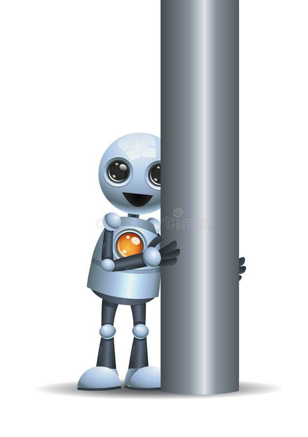 liten robot som hidding bak järnpol royaltyfri illustrationer
