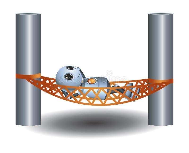 liten robot som kopplar av att lägga på hängmattamadrassen royaltyfri illustrationer