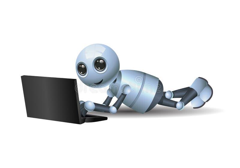 Liten robot som spelar bärbara datorn på isolerad vit bakgrund stock illustrationer
