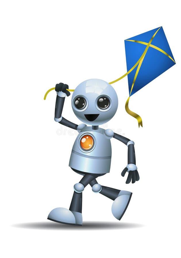 liten robot som spelar draken royaltyfri illustrationer