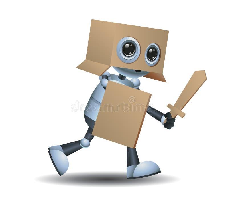 liten robot som spelar krigaren som använder kortbrädet royaltyfri illustrationer