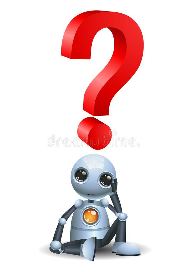 Liten robot som tänker om stor fråga vektor illustrationer