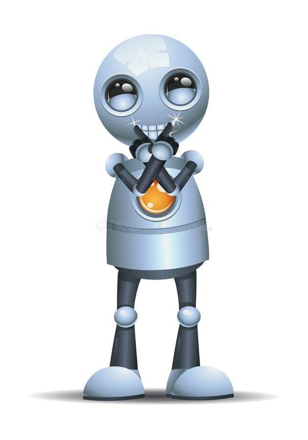 Liten robot som visar sunda tänder med att grina framsidan stock illustrationer