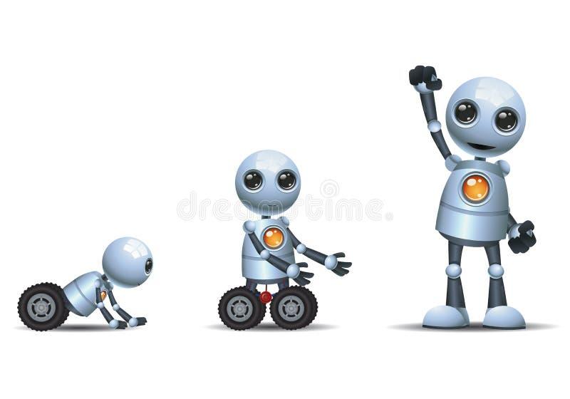 Liten robotevolutionfas på isolerad vit bakgrund royaltyfri illustrationer