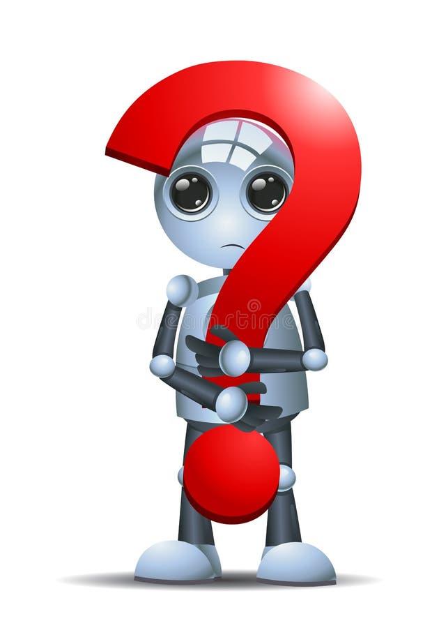 Liten robothåll ett frågesymbol royaltyfri illustrationer