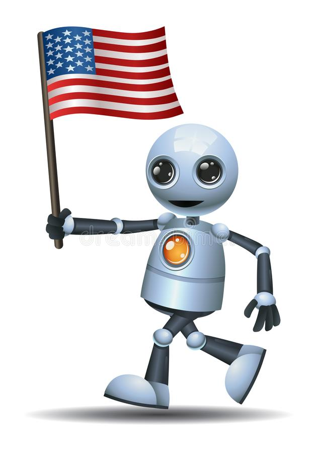 Liten robothållUSA flagga royaltyfri illustrationer