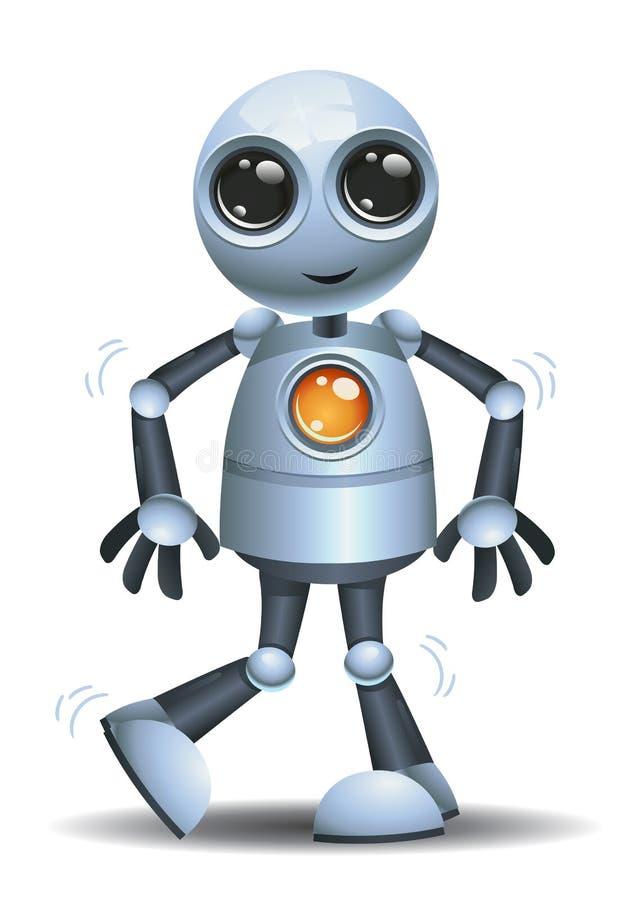 Liten robotsinnesrörelse i lycklig fot vektor illustrationer