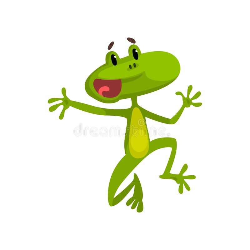 Liten rolig hoppa groda, grön gullig amfibian djur illustration för vektor för tecknad filmtecken på en vit bakgrund stock illustrationer