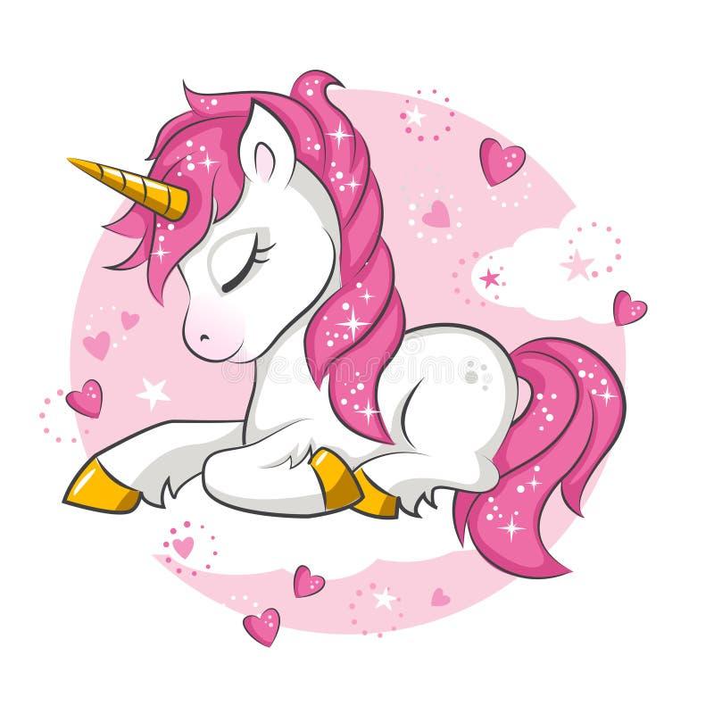 Liten rosa enhörning stock illustrationer