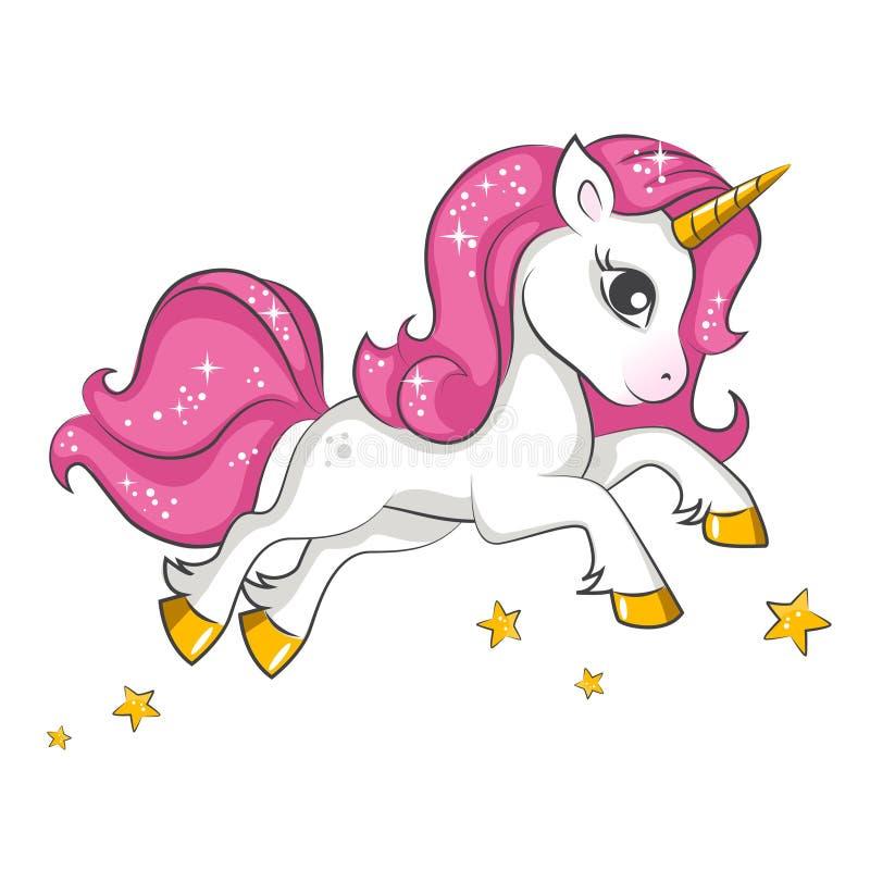 Liten rosa enhörning Design för barn vektor illustrationer