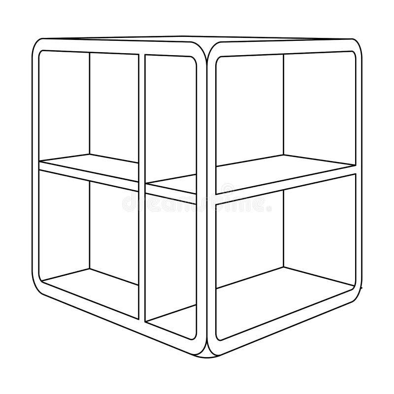 Liten rumkaffetabell Vit tabell med celler Enkel symbol för sovrummöblemang i materiel för symbol för översiktsstilvektor stock illustrationer