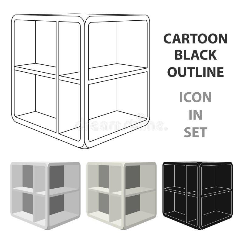 Liten rumkaffetabell Vit tabell med celler Enkel symbol för sovrummöblemang i materiel för symbol för tecknad filmstilvektor royaltyfri illustrationer