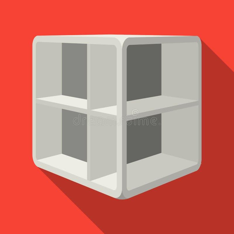 Liten rumkaffetabell Vit tabell med celler Enkel symbol för sovrummöblemang i plant materiel för stilvektorsymbol royaltyfri illustrationer