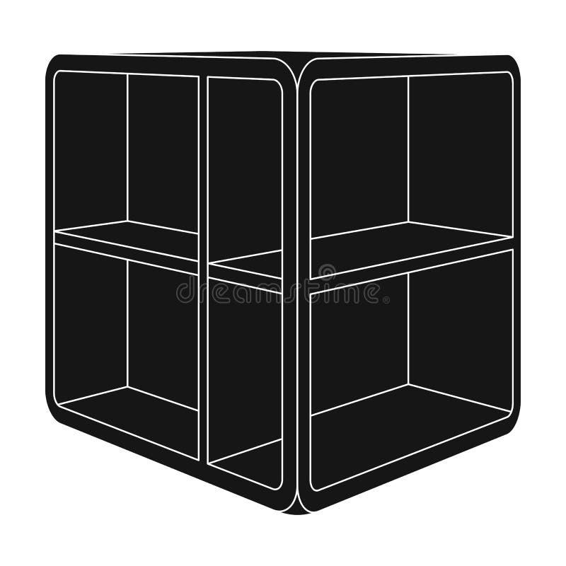 Liten rumkaffetabell Vit tabell med celler Enkel symbol för sovrummöblemang i svart materiel för stilvektorsymbol royaltyfri illustrationer