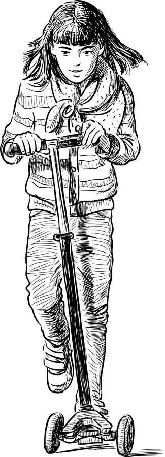 Liten shoolgirl som rider en sparkcykel stock illustrationer
