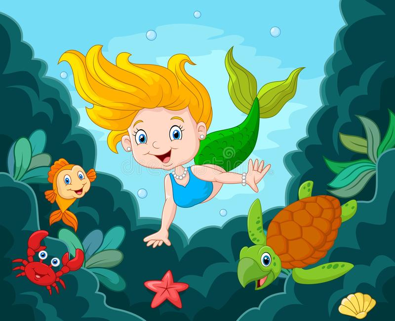 Liten sjöjungfru med havsdjur stock illustrationer