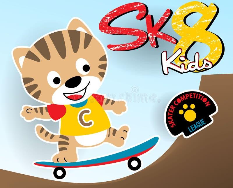 Liten skateboradåkare för rolig katttecknad film royaltyfri illustrationer