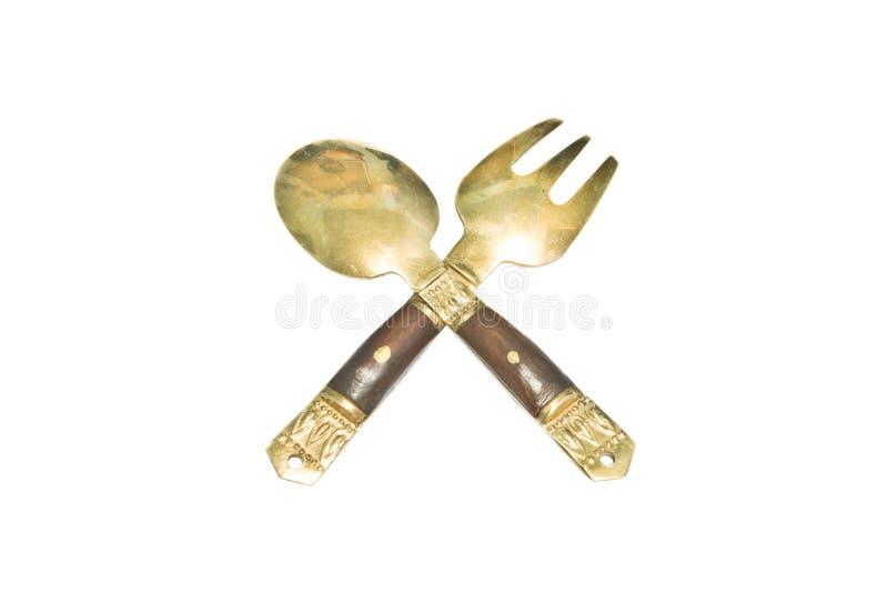 Liten sked och gaffel, minnessak royaltyfria bilder