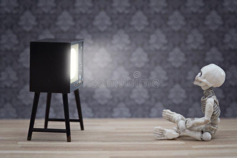 Liten skelett och TV royaltyfria foton