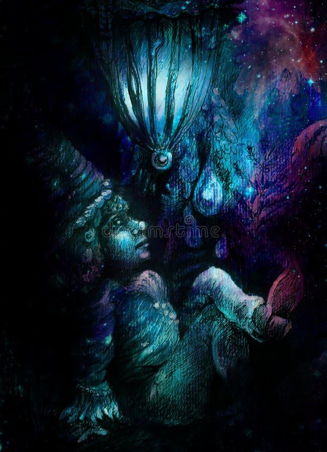 Liten skogdvärg i cyan blått och violett, färgrik illustration royaltyfri illustrationer