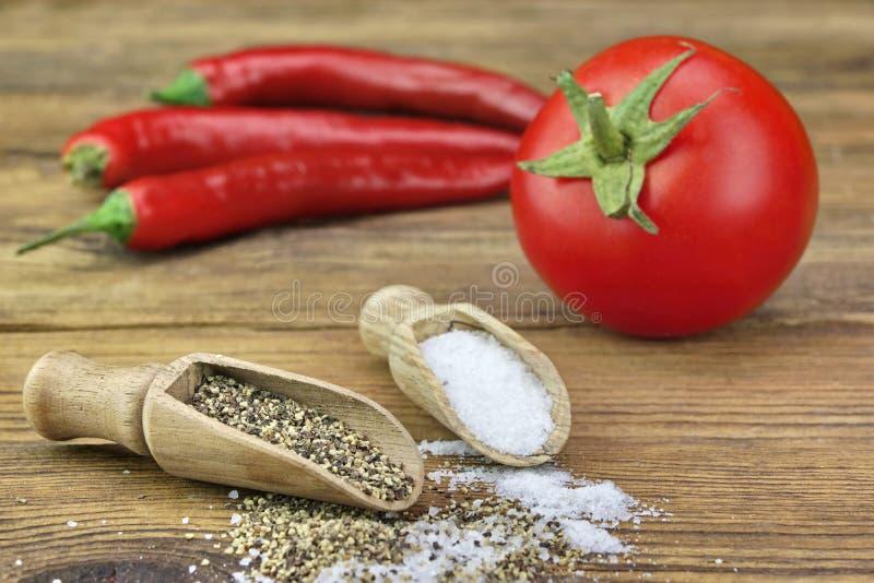 Liten skopa två med salt och peppar, ny tomat arkivfoton