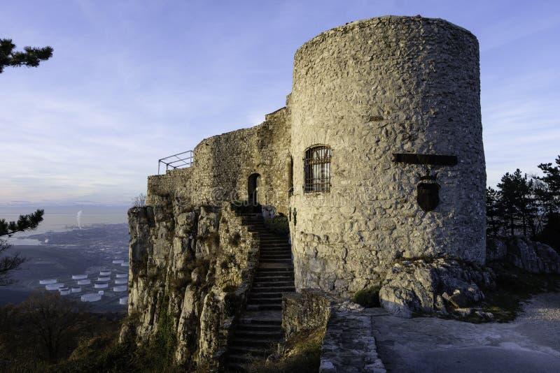 Liten slott med trappa och tornet royaltyfri fotografi
