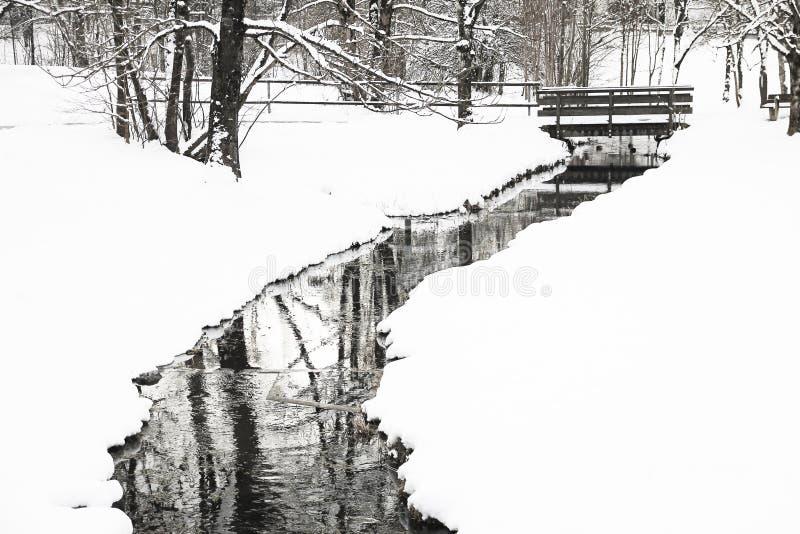 Liten snöig liten vik och bro på vintertid royaltyfria foton