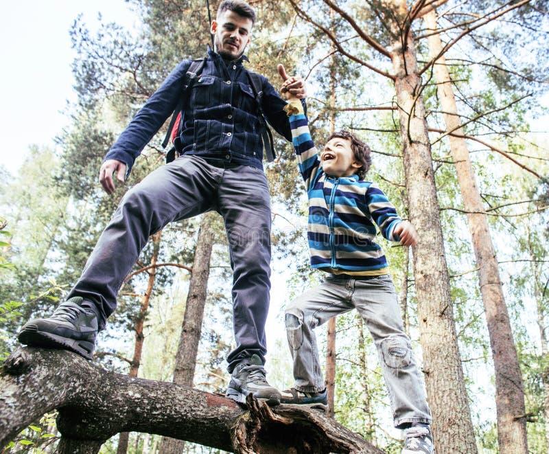 Liten son med faderklättring på träd tillsammans i skogen, livsstilfolkbegrepp, lycklig le familj på sommar arkivbilder