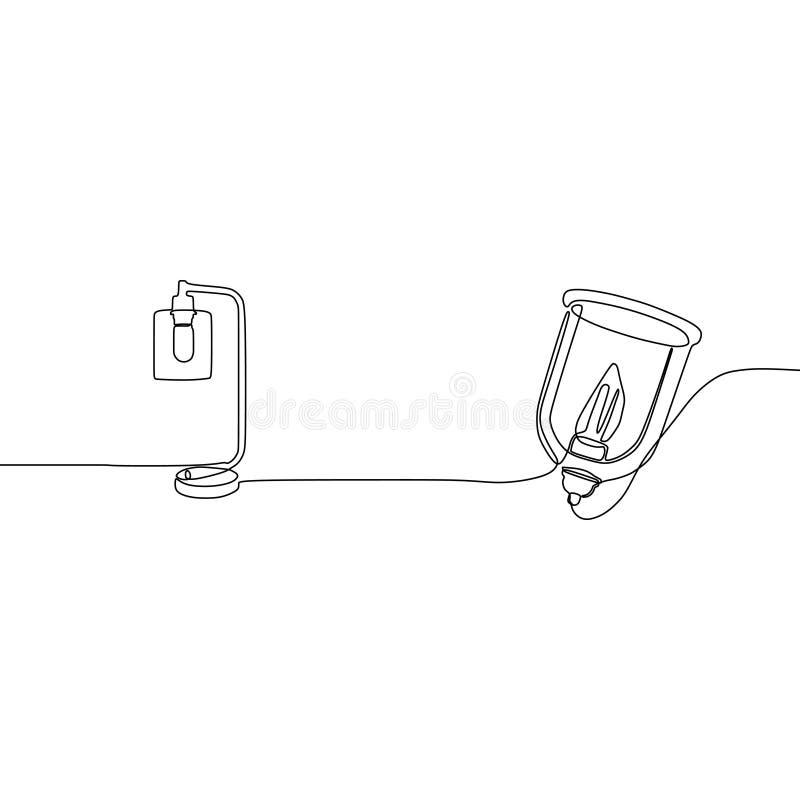 LITEN STÅENDE LAMP- OCH för stearinljuslampa EN LINJE FORTLÖPANDE LINJE DEKORATIV GOLVLAMPA som STÅR TÄNDA stock illustrationer