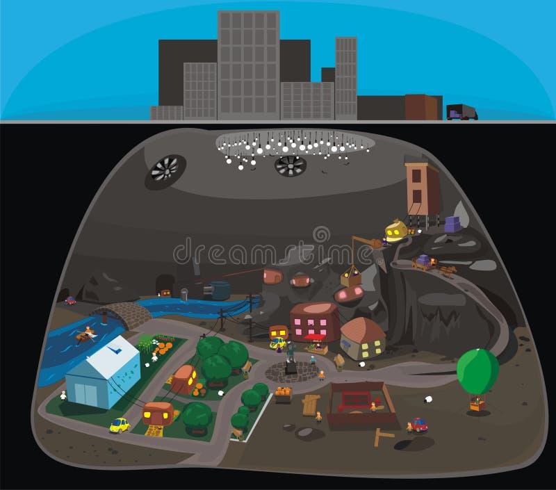 liten stad royaltyfri illustrationer