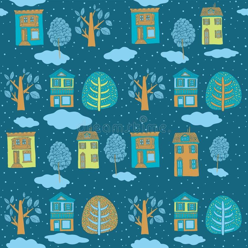 Liten stad i vinter. vektor illustrationer