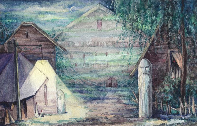 Liten stad med hus och hedniska förebilder för flygillustration för näbb dekorativ bild dess paper stycksvalavattenfärg stock illustrationer