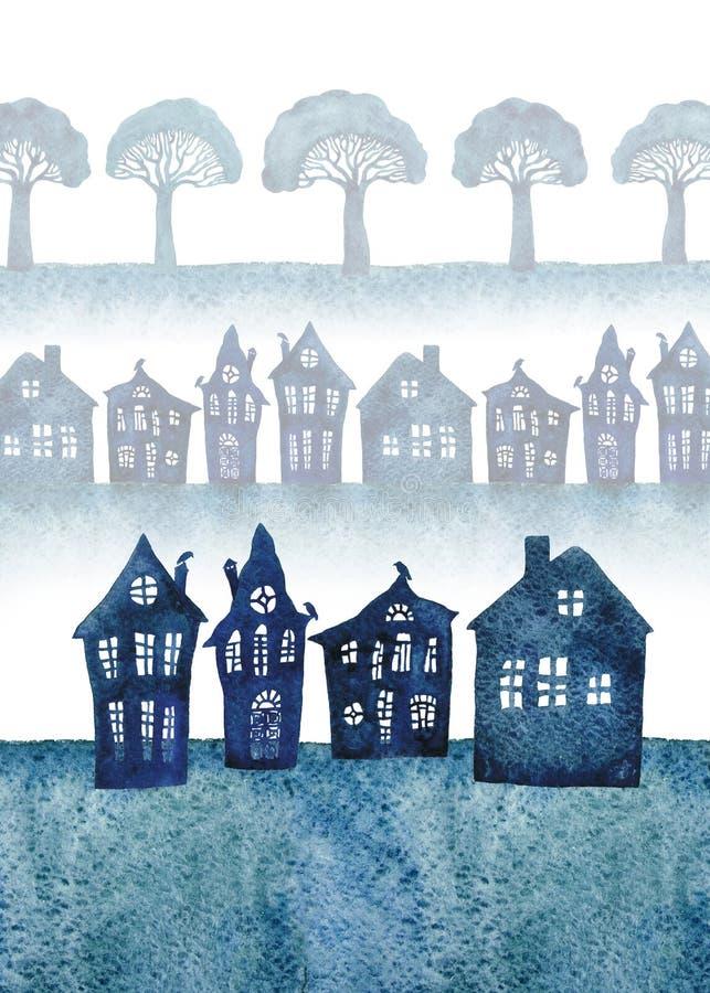 Liten stad med krokiga hus och broccoliträd för flygillustration för näbb dekorativ bild dess paper stycksvalavattenfärg vektor illustrationer