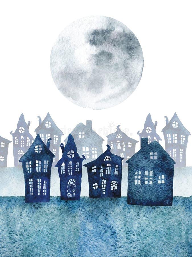 Liten stad med krokiga hus och resningmånen för flygillustration för näbb dekorativ bild dess paper stycksvalavattenfärg vektor illustrationer