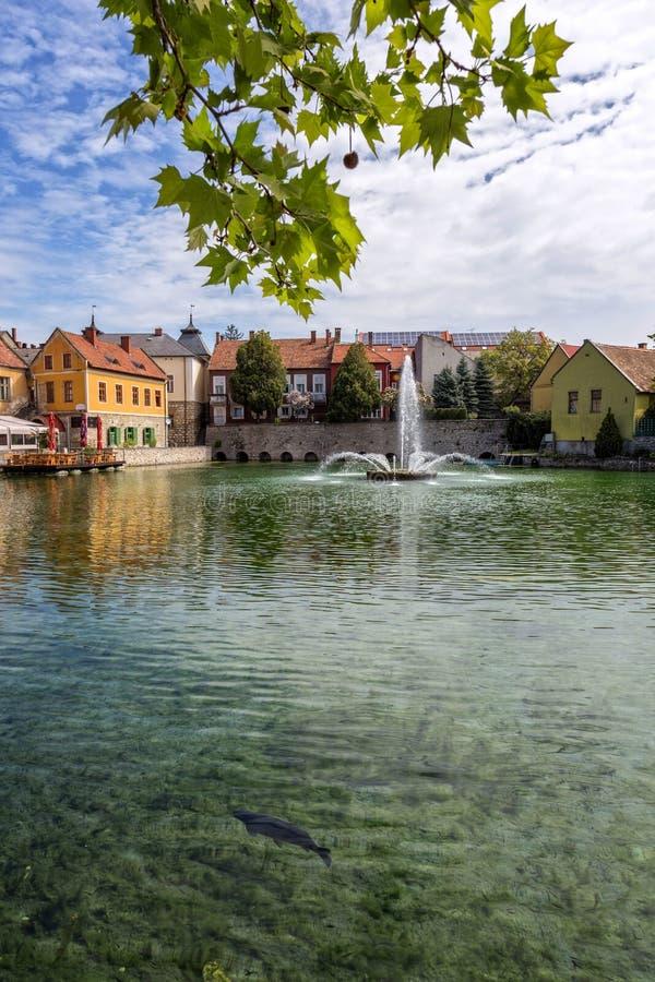 Liten stad Tapolca (Ungern) royaltyfria bilder