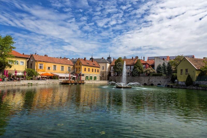 Liten stad Tapolca (Ungern) arkivbild