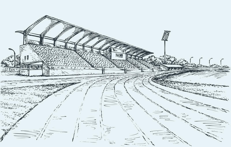 liten stadion Vektorn skissar vektor illustrationer