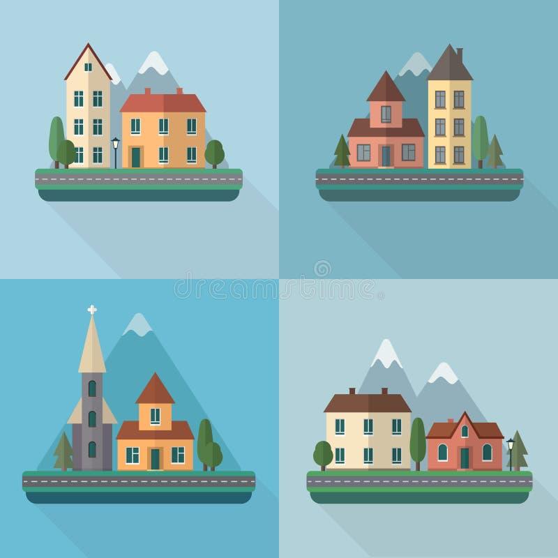 Liten stadsgata vektor illustrationer