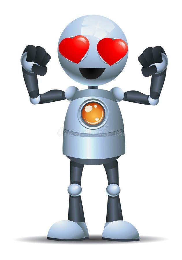 liten stark robotkroppbyggmästare därför att makten av förälskelse stock illustrationer