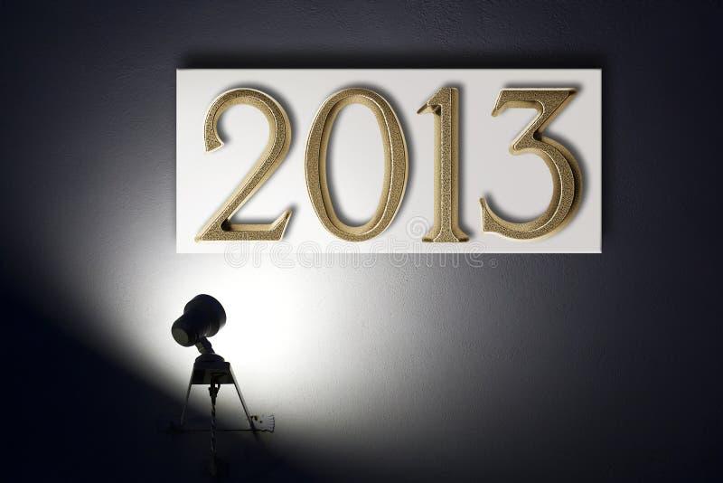 Liten strålkastare som meddelar det nya året royaltyfri bild