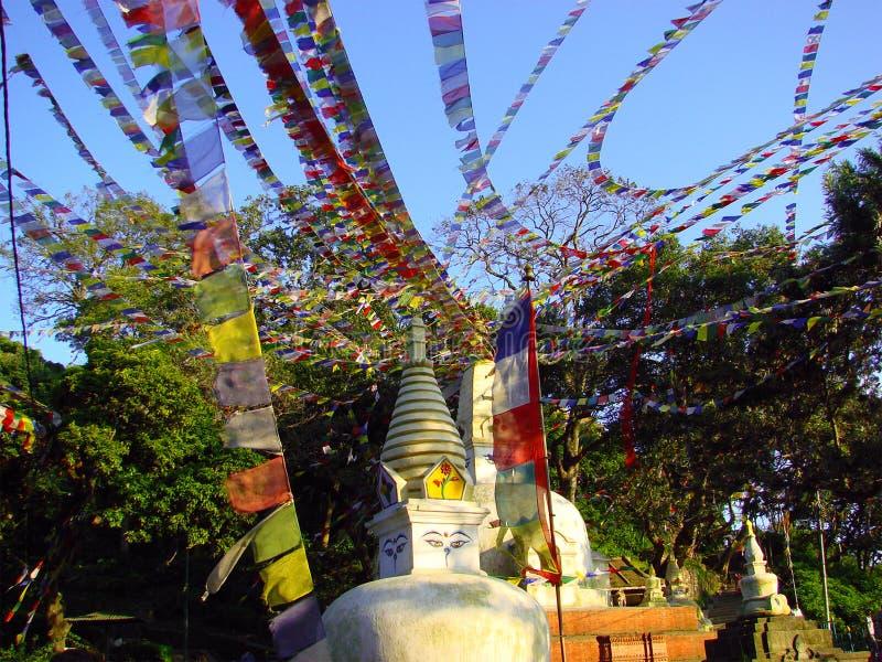 Liten stupa med färgrika buddistiska flaggor av det Swayambhunath tempelkomplexet kathmandu nepal royaltyfri fotografi
