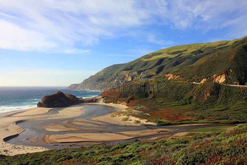 Liten Sur flodbred flodmynning på den stora Sur kusten nära Carmel, Kalifornien arkivbild