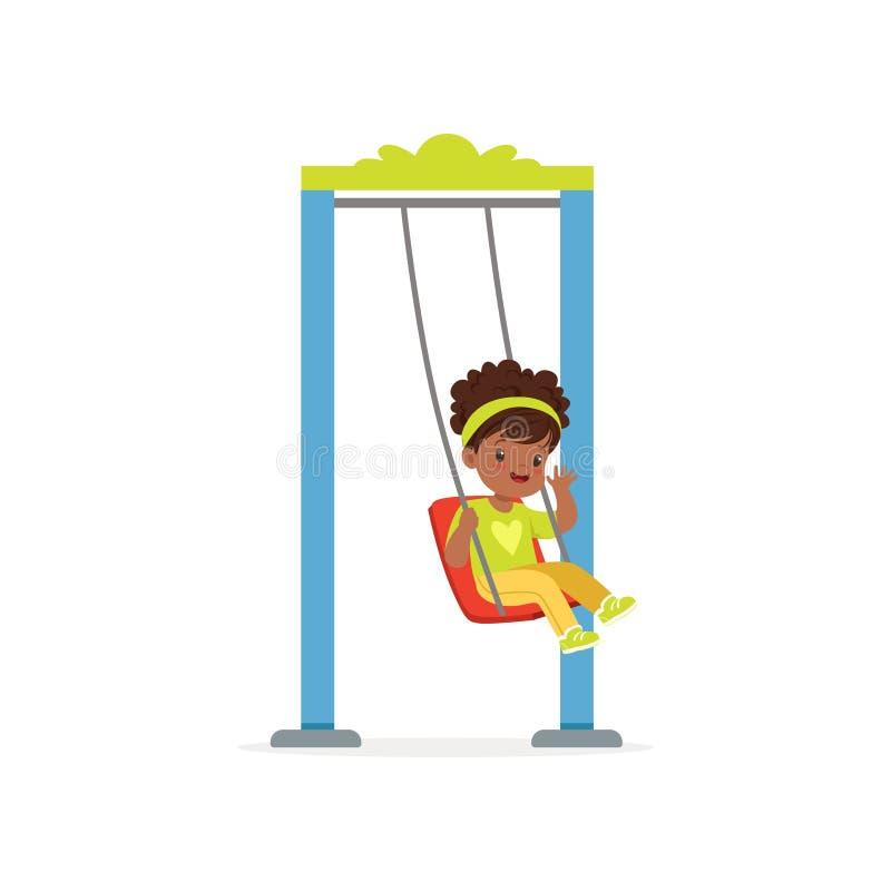 Liten svart flickaridning för tecknad film på gunga- och vinkahanden Det plana barnteckenet som har bra tid på lekplats på, parke stock illustrationer