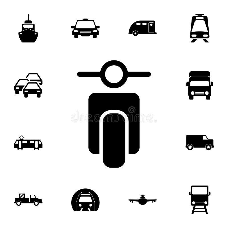 liten symbol för främre sikt för motorcykel Detaljerad uppsättning av transportsymboler Högvärdigt kvalitets- tecken för grafisk  royaltyfri illustrationer