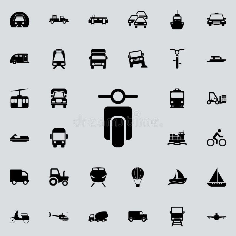 liten symbol för främre sikt för motorcykel Transportera den universella uppsättningen för symboler för rengöringsduk och mobil stock illustrationer