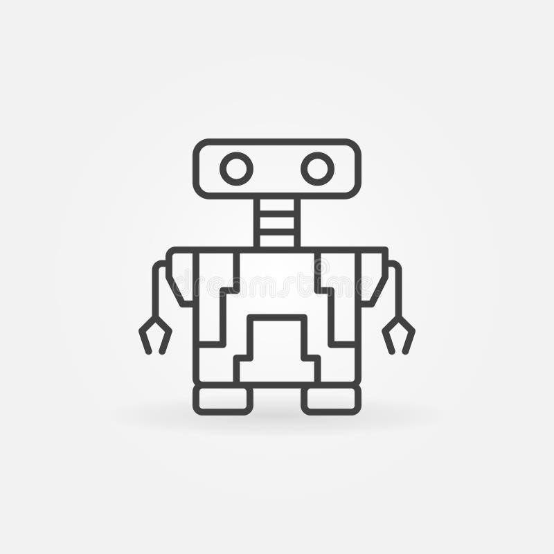 Liten symbol för robotvektorbegrepp i den tunna linjen stil stock illustrationer